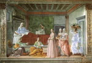 Доменико Гирландайо. Рождество Иоанна Предтечи. (Флоренция, Капелла Торнабуони,1486-90 гг)